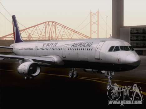 Airbus A321 Air Macau para GTA San Andreas vista posterior izquierda