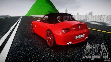 BMW Z4 Roadster 2007 i3.0 Final para GTA 4 Vista posterior izquierda