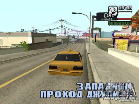 Tiempo real para GTA San Andreas sucesivamente de pantalla