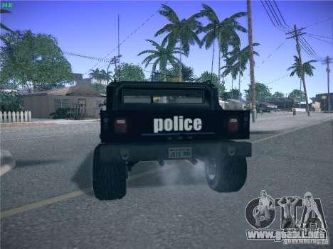 Hummer H1 1986 Police para GTA San Andreas vista posterior izquierda