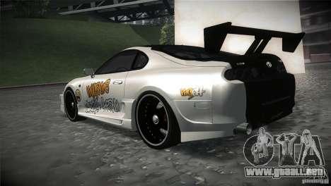 Toyota Supra MyGame Drift Team para GTA San Andreas vista posterior izquierda