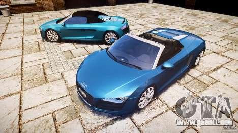 Audi R8 Spyder 5.2 FSI Quattro V4 [EPM] para GTA 4 Vista posterior izquierda