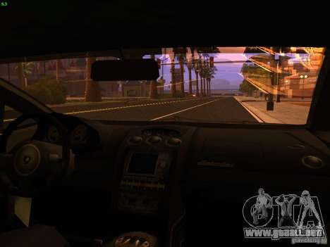 Lamborghini Gallardo Underground Racing para visión interna GTA San Andreas