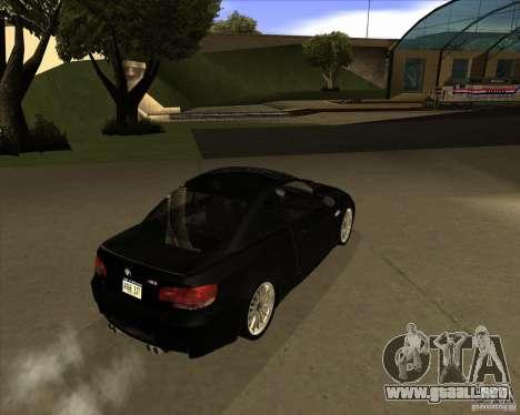 BMW M3 Convertible 2008 para GTA San Andreas vista hacia atrás