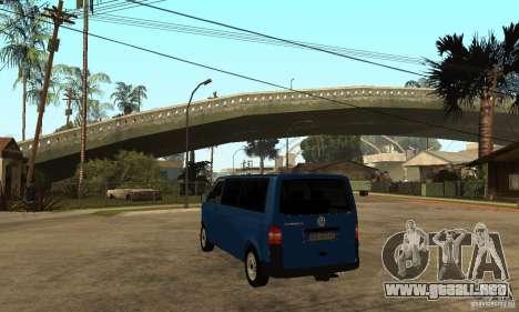 VW Transporter T5 2.5 TDI long para GTA San Andreas vista posterior izquierda