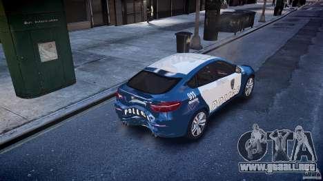BMW X6M Police para GTA 4 vista desde abajo