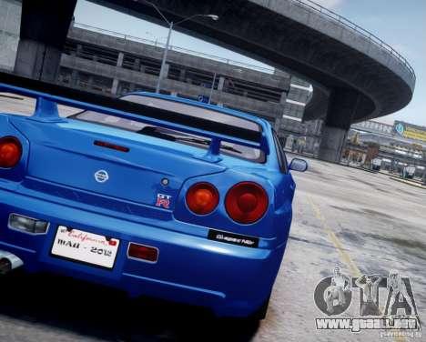 Nissan Skyline GT-R R34 Mspec para GTA 4 vista hacia atrás