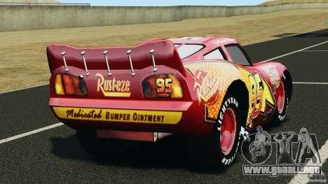 Lightning McQueen para GTA 4 Vista posterior izquierda