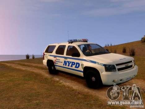 Chevrolet Tahoe New York Police para GTA 4 Vista posterior izquierda