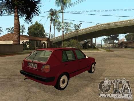Volkswagen Golf MKII 5dr para GTA San Andreas vista posterior izquierda