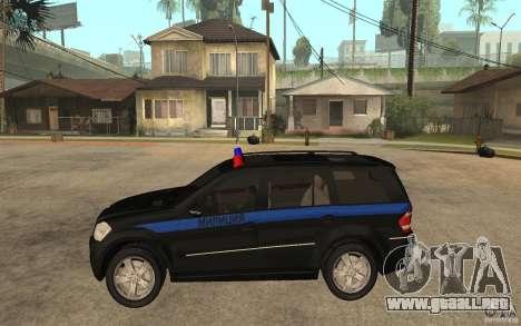 Mercedes Benz GL500 policía para GTA San Andreas left