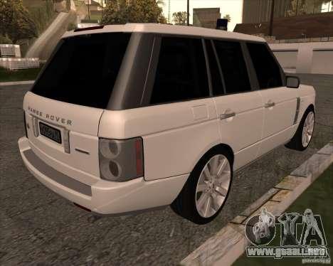 Land Rover Range Rover Supercharged para GTA San Andreas vista posterior izquierda