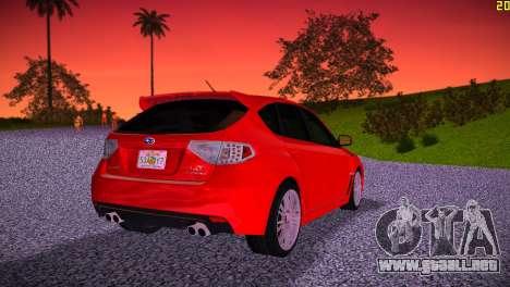 Subaru Impreza WRX STI (GRB) - LHD para GTA Vice City vista lateral izquierdo