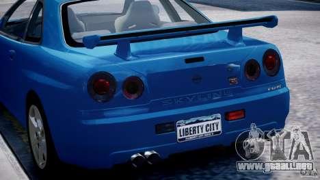 Nissan Skyline GT-R 34 V-Spec para GTA 4 ruedas