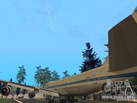 Boeing 747-100 Pan American Airways para GTA San Andreas vista posterior izquierda
