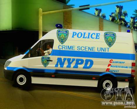 Mercedes Benz Sprinter NYPD police para GTA San Andreas left