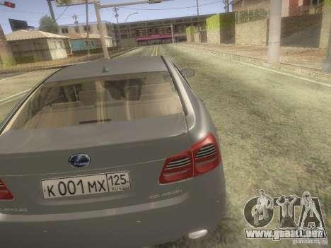 Lexus GS450H para GTA San Andreas vista posterior izquierda