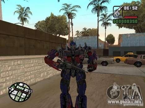 Optimus Prime para GTA San Andreas sucesivamente de pantalla