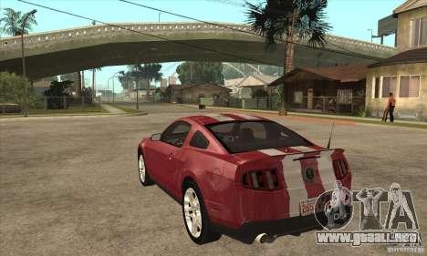 Shelby GT500 2010 para GTA San Andreas vista posterior izquierda