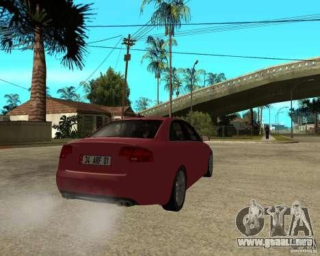 Audi S4 tunable para GTA San Andreas vista posterior izquierda
