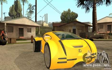 Lexus Concept 2045 para GTA San Andreas vista hacia atrás