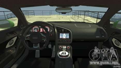 Audi R8 5.2 FSI quattro v1 para GTA 4 visión correcta