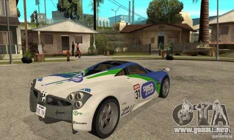 Pagani Huayra ver. 1.1 para GTA San Andreas vista hacia atrás