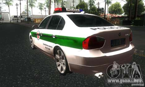 BMW 330 E90 Policija para GTA San Andreas vista posterior izquierda