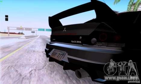 Mitsubishi Lancer EVO VIII BlackDevil para la visión correcta GTA San Andreas