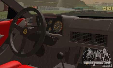 Ferrari Testarossa 1986 para visión interna GTA San Andreas