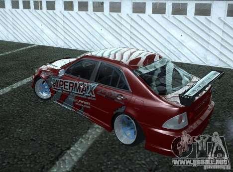 Toyota Altezza Hipermax para GTA San Andreas vista posterior izquierda