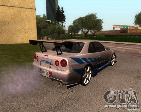 Nissan Skyline R-34 GT-R M-spec Nur para visión interna GTA San Andreas