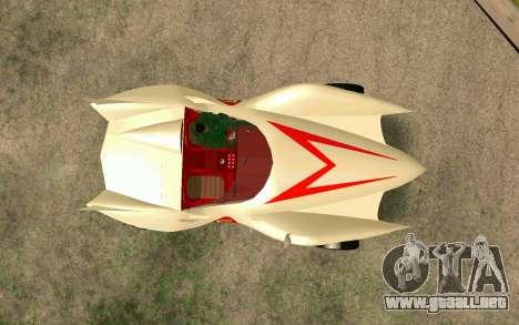 Mach 5 para GTA San Andreas vista hacia atrás