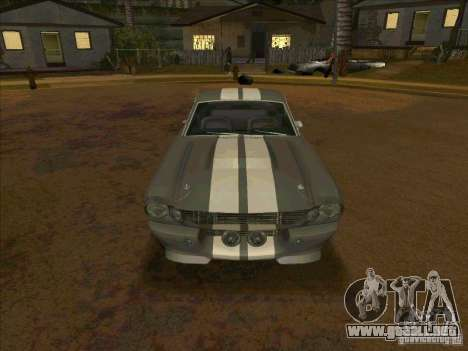 Ford Shelby GT500 Eleanor para GTA San Andreas vista hacia atrás