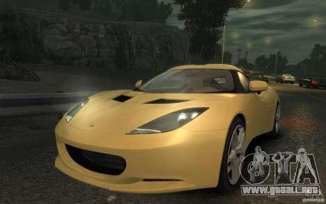 Lotus Evora 2009 para GTA 4 Vista posterior izquierda