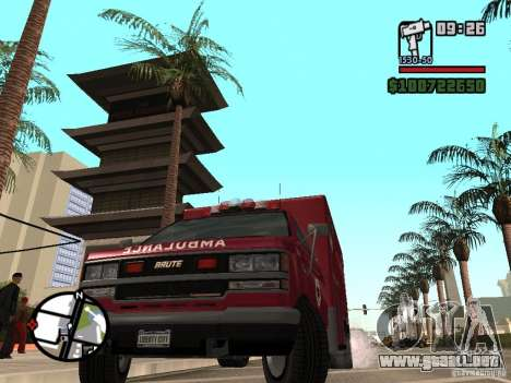 Ambulancia de GTA IV para GTA San Andreas vista posterior izquierda
