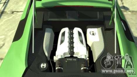 Audi R8 5.2 FSI quattro v1 para GTA 4 vista hacia atrás