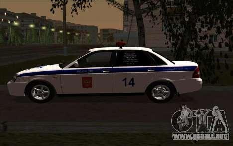 LADA 2170 policía para GTA San Andreas left