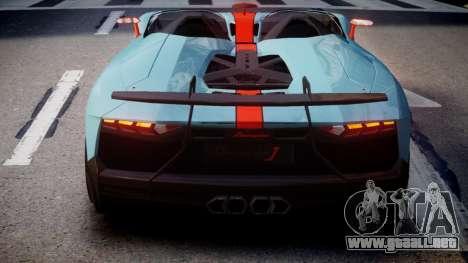 Lamborghini Aventador J 2012 Gulf para GTA 4 Vista posterior izquierda