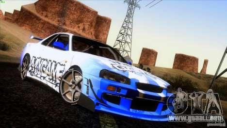 Nissan Skyline R34 Drift para las ruedas de GTA San Andreas
