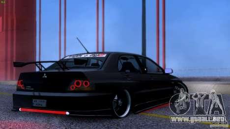 Mitsubishi Lancer Evolution 8 Drift para visión interna GTA San Andreas