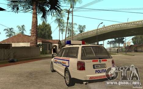 VW Passat B5+ Variant Politia Romana para GTA San Andreas vista posterior izquierda