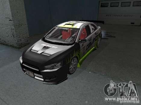 Mitsubishi Evolution X Stock-Tunable para GTA San Andreas left