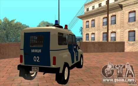Policía Bobik UAZ-3159 v. 2 para la visión correcta GTA San Andreas