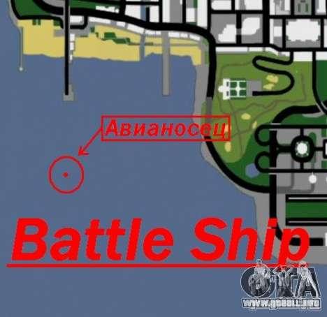Battle Ship para GTA San Andreas quinta pantalla