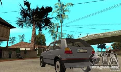 Volkswagen Golf 2 GTI 1984 para GTA San Andreas vista posterior izquierda