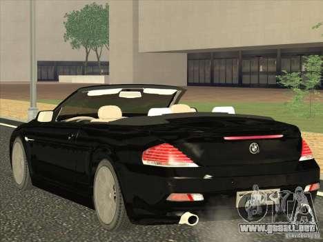 BMW 650I para GTA San Andreas vista posterior izquierda