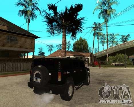 AMG H2 HUMMER SUV FBI para GTA San Andreas vista posterior izquierda