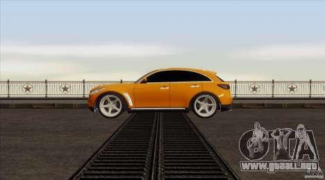 Infiniti FX37 para GTA San Andreas vista posterior izquierda