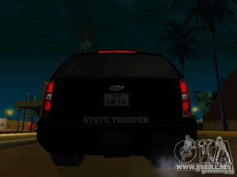 Chevrolet Tahoe Texas Highway Patrol para GTA San Andreas vista posterior izquierda